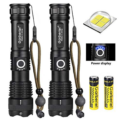 ShineTool XHP50 Linterna LED Alta Potencia 2 Unidades, 4000 Lúmenes Recargable por USB Linterna Resistente al Agua con Zoom, Luces de Emergencia para Exteriores con Indicador de Energía + Batería