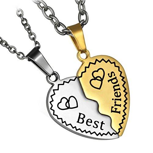 Flongo Freundschaftsketten BFF Anhänger Best Friends Halskette, 2 Stück Edelstahl Halskette Freundschaftskette Kette Herz Herzchen Puzzle Gold Golden Silber mit Gravur Herren, Damen