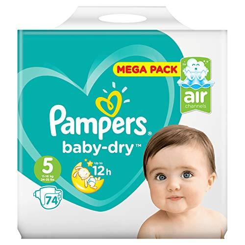 Pampers Couches Baby-Dry Taille 5 (11-23kg) Jusqu'à 12h Bien Au Sec et Avec Double-Barrière Anti-Fuites, 74 Couches (Méga Pack)