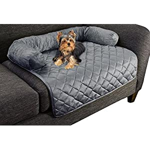 """Furniture Protector Pet Cover for Dogs and Cats with Shredded Memory Foam filled 3-Sided Bolster Soft Plush Fabric by PETMAKER – 30"""" x 30.5"""" Gray"""
