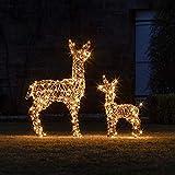 Lights4fun Cierva y Cervato de Navidad Luminosos en Ratán con LED Blancos Cálidos para...