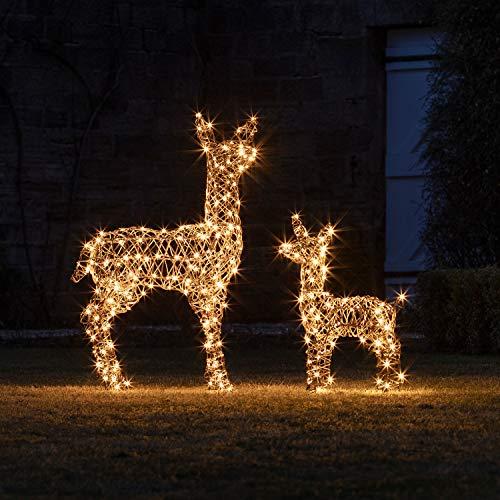 Lights4fun - Set di Renna e Cerbiatto Natalizio Luminosi di Rattan con Luci LED Bianca Calda per Uso in Esterni