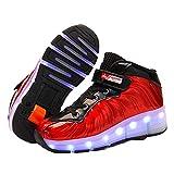 Feidaeu Baskets Montantes à LED pour Enfants Patins à roulettes Confortables et légers Baskets pour garçons et Filles Chaussures monocycle