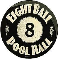 アメリカ雑貨 ブリキ看板 EIGHT BALL POOL HALL ビリヤード 8ボール エイトボール プールホール? 壁掛け インテリア 壁面装飾 おしゃれ ポスター アンティーク