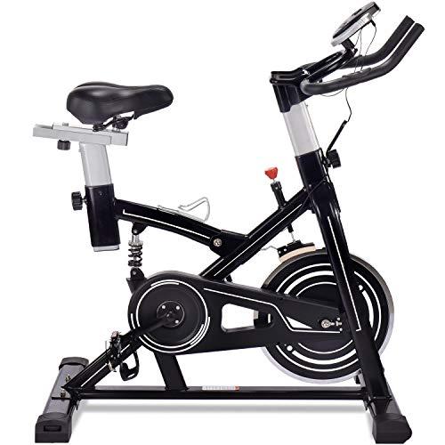ERGO LIFE Indoor Fitness Bike, Cycling Bike Stationäres Heimtrainer für das Cardio-Training zu Hause Glatter Riemenantrieb mit Handpulssensor/LCD-Display/Handyhalter/Exercise Bike