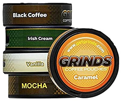 Grinds Coffee Pouches | 5 Can Sampler| Black Coffee, Irish Cream, Vanilla, Mocha, Caramel | Tobacco Free, Nicotine Free Healthy Alternative | 1 Pouch eq. 1/4 Cup of Coffee (5 Can Sampler)