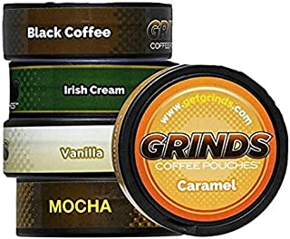 Grinds Coffee Pouches   5 Can Sampler  Black Coffee, Irish Cream, Vanilla, Mocha, Caramel   Tobacco Free, Nicotine Free Healthy Alternative   1 Pouch eq. 1/4 Cup of Coffee (5 Can Sampler)