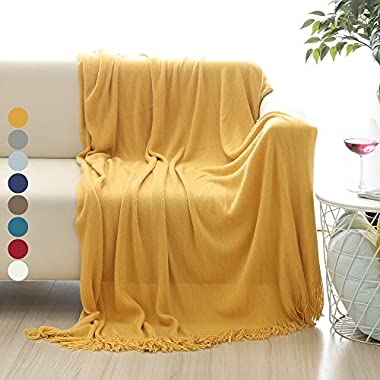 ALPHA HOME Soft Throw Blanket Warm & Cozy for Couch Sofa Bed Beach Travel - 50  x 60 , Gold