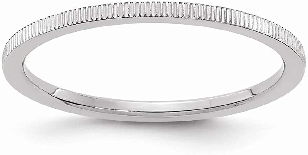 Solid 10K White Gold 1.2mm Line Pattern Stackable Band Thin Wedding Anniversary Ring