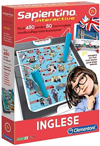 Clementoni - 16077 - Sapientino Interactive - Inglese, penna interattiva - gioco educativo 7 anni, elettronico con batterie incluse - gioco per imparare inglese - Made in Italy