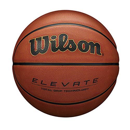 Wilson Pelota de Baloncesto Elevate, para Hombres, Cuero Compuesto, Tamaño 7, Marrón, WTB2901XB07