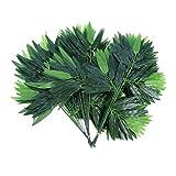 Amosfun - 50 Hojas de bambú Artificiales, Hojas de follaje Verde Falsas para decoración de hogar, Hotel, Oficina