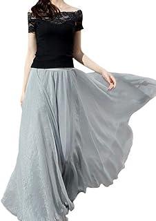 fdeb78be8f ADESHOP Femmes Taille éLastique En Mousseline De Soie Longue Robe De Plage  Femmes Mode DéContractéE Chic
