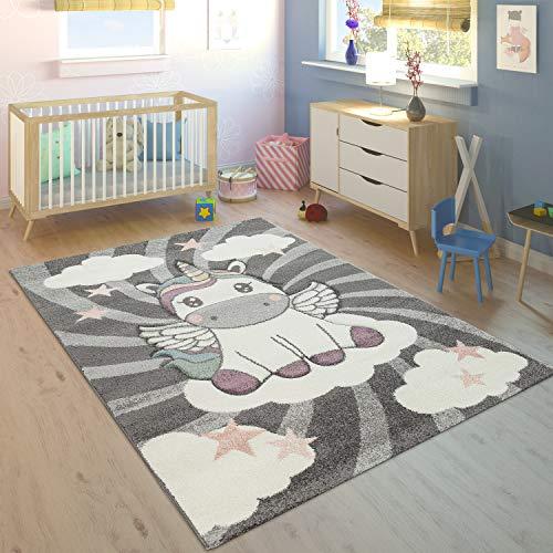 Paco Home Alfombra Habitación Infantil Niña Moderna Unicornio sobre Las Nubes Gris Rosa, tamaño:80x150 cm