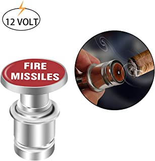 Novelty Fire Missile Button Cigarette Lighter Cover,Car Cigarette Lighter Replacement, Universal Design Fits Most Vehicles with Standard 12 Volt Power Source (Fire Missiles)
