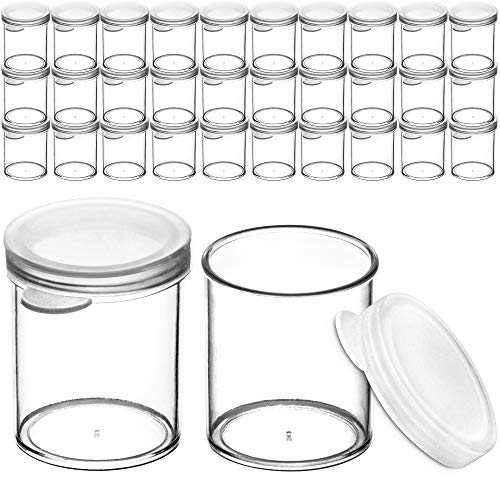 DecorRack 30 Plastic Mini Containers with Lids, 1oz, Craft Storage Containers for Beads, Glitter, Slime, Paint Pots or Seed Storage, Small Clear Empty Cups with Lids (30 Pack)