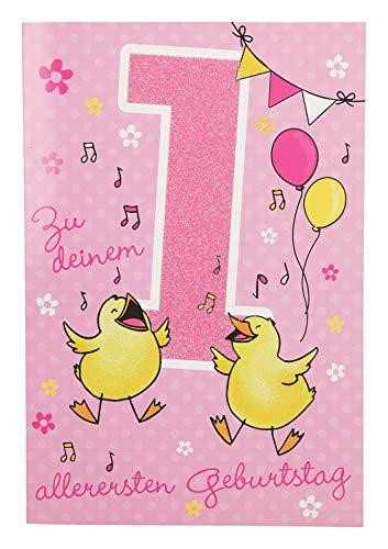 Depesche 5698.002 Glückwunschkarte mit Musik, 1. Geburtstag, rosa