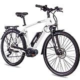 CHRISSON 28 Zoll Herren Trekking- und City-E-Bike - E-Actourus Weiss matt - Elektro Fahrrad Herren - 10 Gang Shimano Deore Schaltung - Pedelec mit Mittelmotor Performance Line 250W, 63Nm