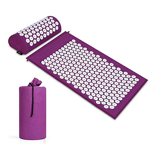 Akupunkturkissen Massage Yogamatte 3-teiliges Set (lila Kissen + Kissen + Tasche),Akupressurmatte und Kissen für