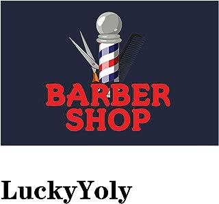 LuckyYoly Barber Shop Funny Doormat, Welcome Door Mat Machine Washable Rubber Backing Non Slip Entry Rug for Front Door/Garden/Kitchen/Bedroom 23.6