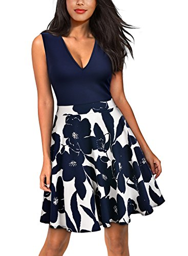 Miusol Women's Casual Flare Floral Contrast Sleeveless Party Mini Dress Blue L