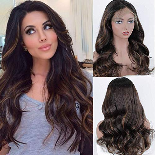 Zana Wigs Human Hair Lace Front Wig Brazilian Body Wave Highlight Ombre Lace Front Wigs Human Hair Glueless Ombre Lace Wigs For Black Women 18Inch