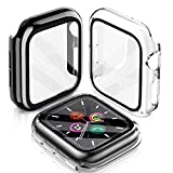 LeYi Cover Compatibile con Apple Watch 44mm Serie 6/SE/5/4, (2 Pezzi) Custodia Rigida PC Full Protezione in Vetro Temperato Integrata, Ultra Sottile per iWatch Apple Smart Watch Serie 6/SE/5/4 44mm