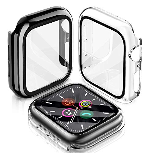 LeYi Cover Compatibile con Apple Watch 44mm Serie 5 / Serie 4, (2 Pezzi) Custodia Rigida PC Full Protezione in Vetro Temperato Integrata, Ultra Sottile per iWatch Apple Smart Watch Serie 5/4 44mm