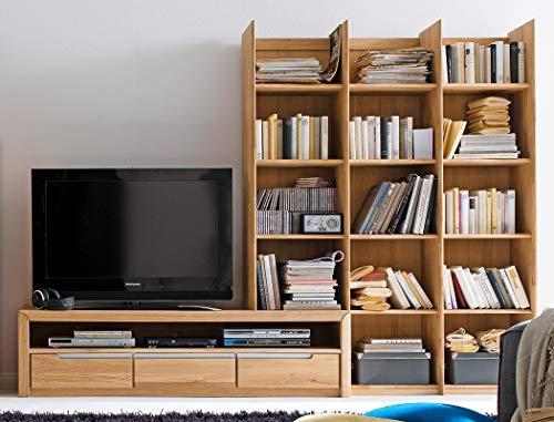 Medienwand Pisa 20 Eiche Bianco massiv Lowboard Regal Wohnwand TV-Wand TV-Möbel, Ausführung:Regal rechts