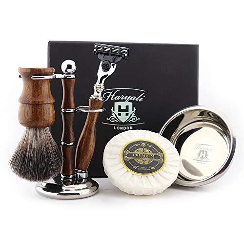 Haryali London Houten Heren Scheerset 3 Rand Scheermes met Synthetische Badger Haarborstel, Standaard, Bowl en Zeep Perfect Gift Set voor Mannen