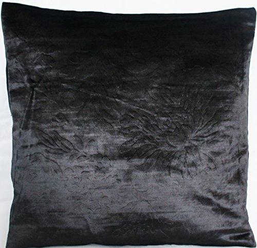 Sierkussen Designers Guild kussensloop zwart bloemen kussenhoes fluweel kussen Despina 40 x 40 cm