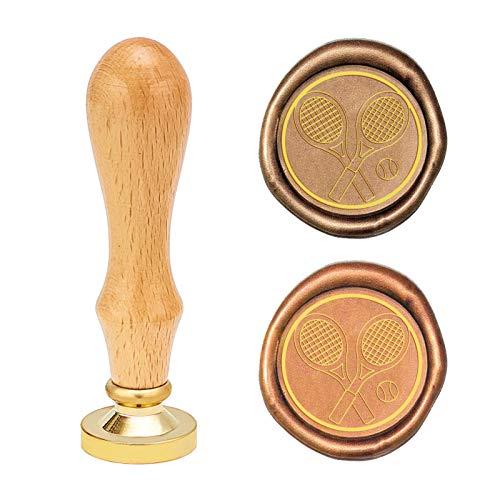 CRASPIRE Sello de cera, sello de cera sellada, raqueta de tenis de 25 mm reemplazable cabeza de sello de latón con mango de madera para sobres, invitaciones, decoración de botellas