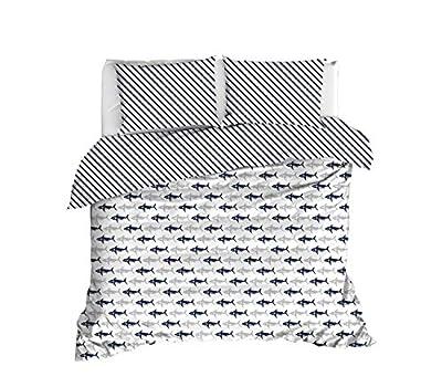 OZINCI Shark Bedding, Sharks Themed 100% Cotton Quilt/Duvet Cover Set, Full/Queen Size, No Flat or No Fitted Sheet,