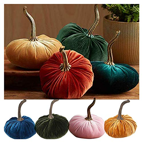 Large Velvet Pumpkins Handmade Home Decor, Holiday Mantle Decor, Fall Halloween Thanksgiving Centerpiece, Rustic Farmhouse Decoration (5 Pcs)