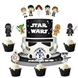 BCHOCKS 24Pcs Outer Space Wars Theme Cupcake Topper Cake Picks Decoration for Baby Shower Birthday Party Supplies-Yoda,Darth Vader and so on.