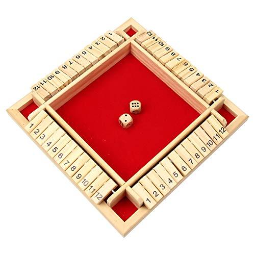 PFativant Deluxe 4-Spieler Shut The Box 12er Würfelspiel Holz Tisch Spiel Klassisch Würfelspiel Board Spielzeug, Rot
