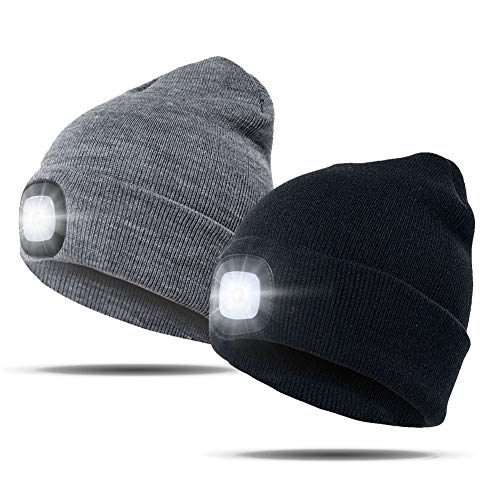 Hat with Light, USB Rechargeable LED Beanie hat, Winter Warm Gifts for Men Dad Him Women Her, Unisex Lighted Headlamp Cap for Walking at Night,Fishing,Camping,Hunting
