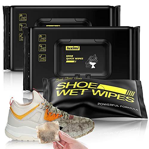 luximi Shoe Cleaner Wipes Instant Sneaker Cleaner, 3 Packs 72pcs White Shoe Cleaner, Premium Cleaning Solution Suitable for Different Sneakers & Sports Shoe, Portable Carrying for Travel