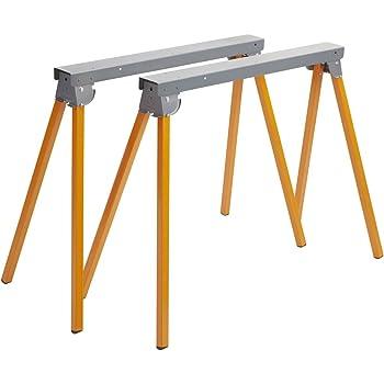 Bora Portamate PM-3300T Steel Folding Sawhorses – Set of 2 Heavy Duty Stands – Pre-Assembled