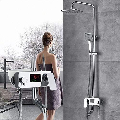 XUSHEN-HU Chrome La ducha del cromo grifo de la ducha Sistema de mezclador de la ducha Conjunto digital Pantalla de temperatura de la ducha Mezclador de bañera grifo Bañera
