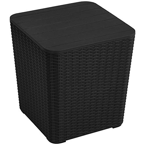 YITAHOME 11.5 Gallon Outdoor Side Table with Storage Small End Table for Coffee, Patio Decor,Cushions(Black)