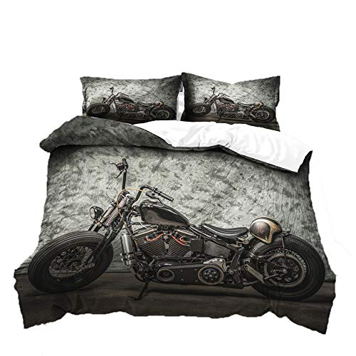 Loussiesd Kids Boys Vintage Motorcycle Duvet Cover Single Size 3D Motorcycle Decor Bedding Set Ultra Soft Motorbike Printed Comforter Cover for Adult Teens Children Modern Black Gray Duvet Cover Retro