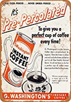2個 8 x 12 CM メタルサイン - 1952 G. Washington's Instant Coffee メタルプレート レトロ アメリカン ブリキ 看板