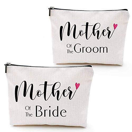 Madre de la novia y el novio, 2 piezas, regalo único de boda para los padres, regalo de compromiso para madre en la ley y novias, bolsa de maquillaje