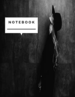 Notebook: Beautiful young mysterious blond girl in black hat and black jacket on the gray cover. Eyes are covered with a h...