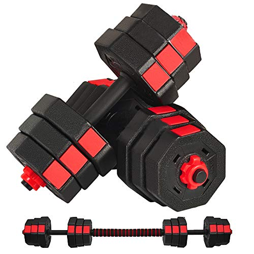 SOSUSHOE Weights Dumbbells Set Adjustable to 44Lbs, Free Weight Set for Men and Women Home Weight Set Fitness Barbell Set with Connecting Rod Gym Workout Exercise Training