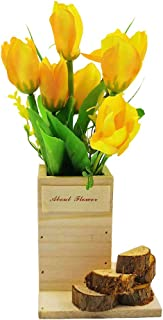 Potted Artificial Plants Plastic Fake Flower Tulips with Wooden Vase and Stairs Design Shape for Home Office Decor (Golden)