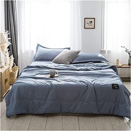 JSY Colcha de verano fina y de color sólido, colcha acolchada para cama de matrimonio, colcha de verano, seda helada, edredones de retazos frescos y cómodos (color: azul lago, tamaño: 150 x 200 cm)