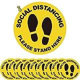 Segnaletica di Sicurezza Autoadesiva a Sociale Adesivo per Distanza Sociale Antiscivolo Ufficio Adesivo per Distanza di Sicurezza Adatto per Supermercati Ospedali e Luoghi Pubblici 10 Pezzi (Giallo)