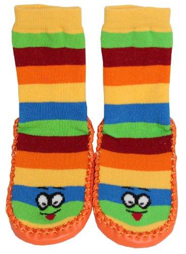 Tobeni 1 Paar Hüttenschuhe Socken Hausschuhe mit Ledersohle & Ringel für Kinder Farbe Orange Grösse 22-23